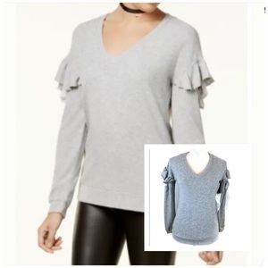 Crave Fame Gray Ruffle Sleeve Sweater